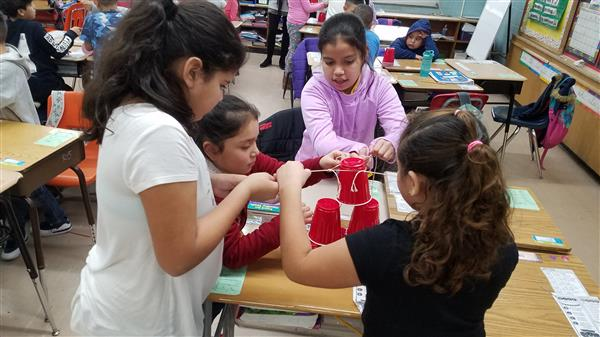 The students in Ms. Rosarios' class recently completed the STEAM Cup Tower Challenge