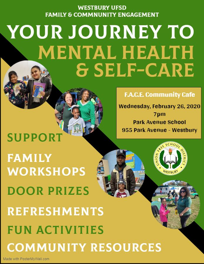 Family and Community Cafe,  Your Journey to Mental Health & Self Care - Wednesday, February 26, 2020 - Park Ave School  6:45 pm